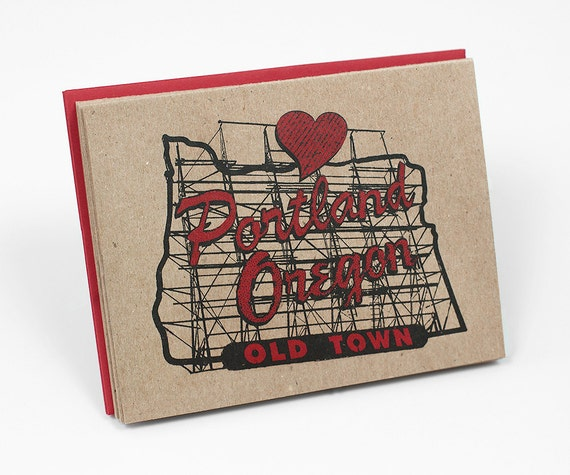 SET of 6 - In the Heart of Portland 4x5 Notecard