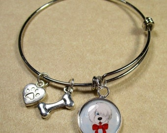Old English Sheepdog Bracelet, Sheepdog Jewelry, Sheepdog Bangle, OES Bracelet, Dulux Dog Bracelet, Sheepdog Gifts, Sheepdog Expand It