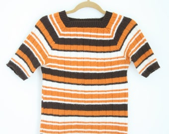 SALE Vintage 70s Striped Sweater Shirt Orange and Brown