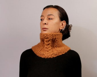 Mustard Snood Infinity Scarf, Collar Scarf, Cable Knit, Tube Scarf, Pure Wool Neck Cowl Mens Winter Scarf Gift For Her, Gift For Him