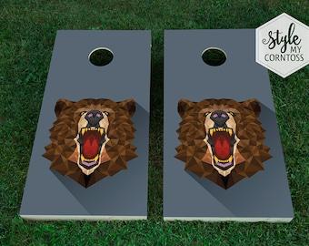 Cornhole Set | Polygonal Bear | Animal | Hunt | Poly | Roar | Geometric | Party Game | Manly | Masculine | For Him | Baggo | Corntoss