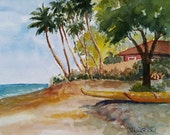 Hanakaoo Beach - original watercolor painting