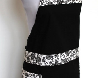 Classic Black and White Cotton Apron with two pockets
