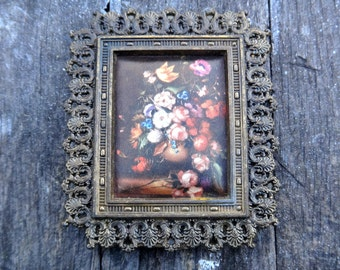 Metal Frame, Italian Frame, Silk Floral Art, Print Fabric, Printed Art, Framed Art, Baroque, Hollywood Regency, Regency, Italian Frame