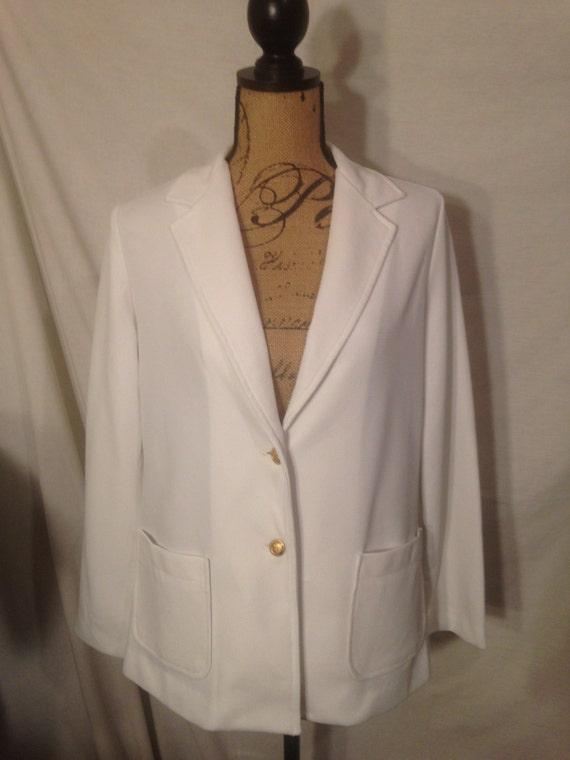 Vintage White Long Sleeve Polyester Blazer c3