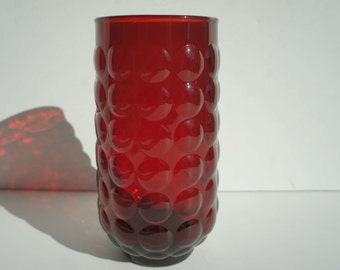 Vintage 1950s Ruby Red Bubble Glass by Anchor Hocking Lemonade Glass Tumbler