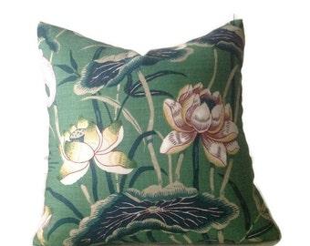 Schumacher Pillow, Jade Lotus Garden Decorative Pillow, Green Throw Pillow Covers, Floral Pillow