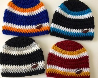 Baby Boy's Team Colors Crochet Football Hat Beanie Choose ANY Team Color Your Choice