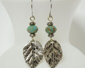 Silver Leaf Earrings with Turquoise Czech Beads - Spring Earrings, Leaf Jewelry, Nature Jewelry