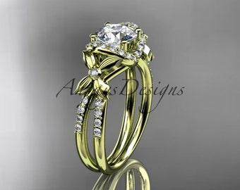 "14kt yellow gold diamond floral wedding ring, engagement ring with a ""Forever One"" Moissanite center stone ADLR140"