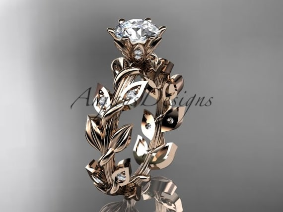 14kt rose gold diamond leaf and vine engagement ring ADLR124