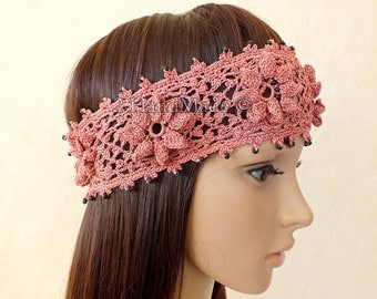 Pink Hand Crochet Headband Dreadlock Irish Lace Head Wrap Boho Pink Rose Wood Beaded Women Ivory Wedding Bridal Cotton Hair Snood