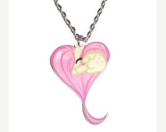 Fluttershy Heart Necklace, Kawaii MLP Friendship is Magic