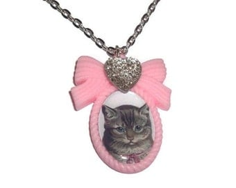 Cat Cameo Necklace, Pink Cameo, Vintage Kitten Kawaii Baby Cat, Pastel Necklace