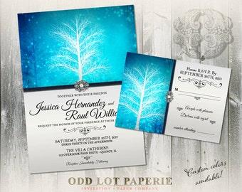 Holiday Wedding Invitation, Printable Wedding Invitations, Winter Wondeland in Turquoise, Snowflake Wedding Invite, DIY Printable Invite