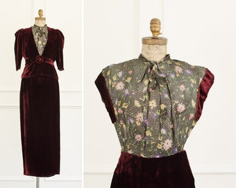 Vintage Brocade Long Velvet  Dress w/ Jacket - 1940's