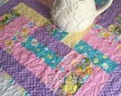 Easter Table Topper Quilt, Easter Table Runner, Easter Centerpiece, Pink - Lavendar - Yellow