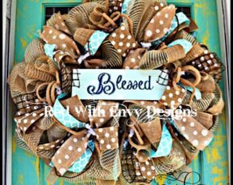Shabby Chic Wreath, Christian Wreath, Country Wreath