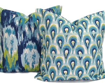 Blue PILLOWS.SET of TWO.20x20 inch.Blue Pillow Covers.Blue Decorative.Housewares.Home Decor. Green Pillow, Blue Green Pillow Covers, Cushion