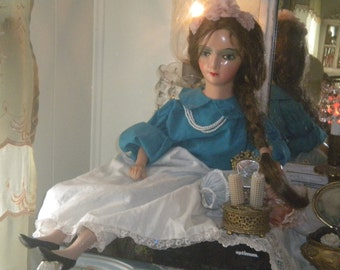 "Fabulous 30"" Unmarked Vintage Boudoir Doll, French Boudoir, Doll Collector"