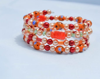 Orange Red Wrap Bracelet Womens Jewelry Faux Pearls, Crystals, Glass Beads Summer Colors Gift Ideas