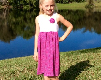 VIVID GRAPE FIREWORKS...New for 2016! Our original tank dress now comes in cool, soft Riley Blake knits! sizes 6mo = 12yrs