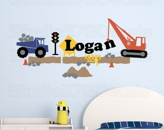 Construction Set Vinyl Wall Decals - Kids Transportation Wall Decals - Worksite Dump Truck Crane - Personalized Name - Nursery Wall Decals