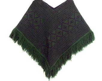 SALE!! 1970s Woodstock Era Vintage Traditional Guatemalan Tapestry Fringe Poncho. Hippie Boho. OSFA