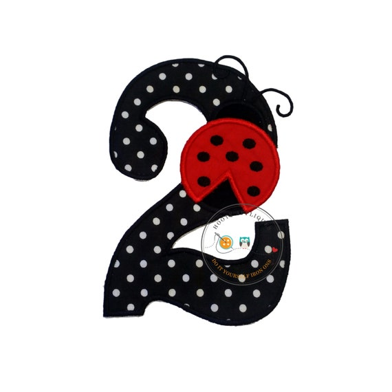 Red Lady Bug Birthday Number 2 Iron On Applique- Black And