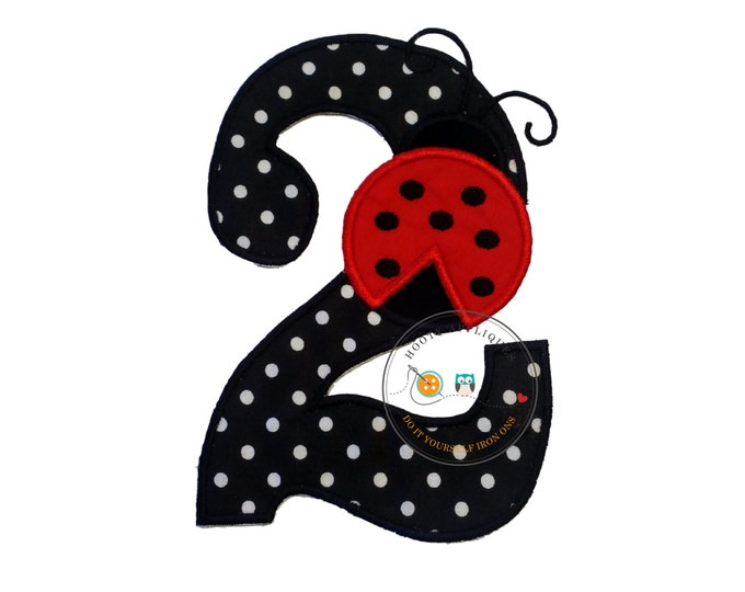 Red lady bug birthday number 2 iron on applique- black and white poka dots and red lady bug machine embroidered fabric no sew patch-DIY
