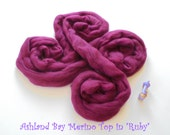 Dyed Merino Top from Ashland Bay - 2 oz of 21.5 Micron Combed Top for Spinning or Felting in Ruby - Dark Burgundy Merino Top/Merino Roving