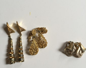 Three pairs of gold-tone clip-on earrings for the price of one!