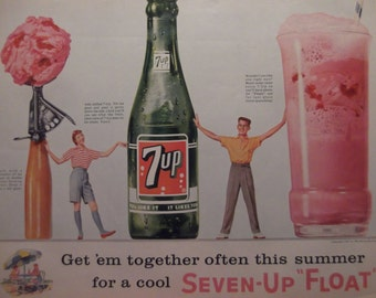 7UP AD Ice Cream Float Original Vintage Soda Advertisement Restaurant Decor Kitchen Decor Ready To Frame