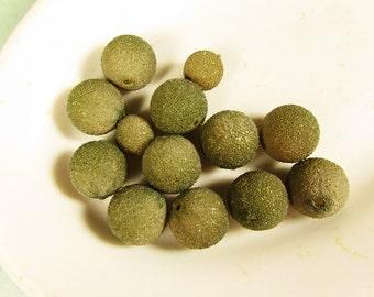Olive Green Sugar Beads - Vintage Round