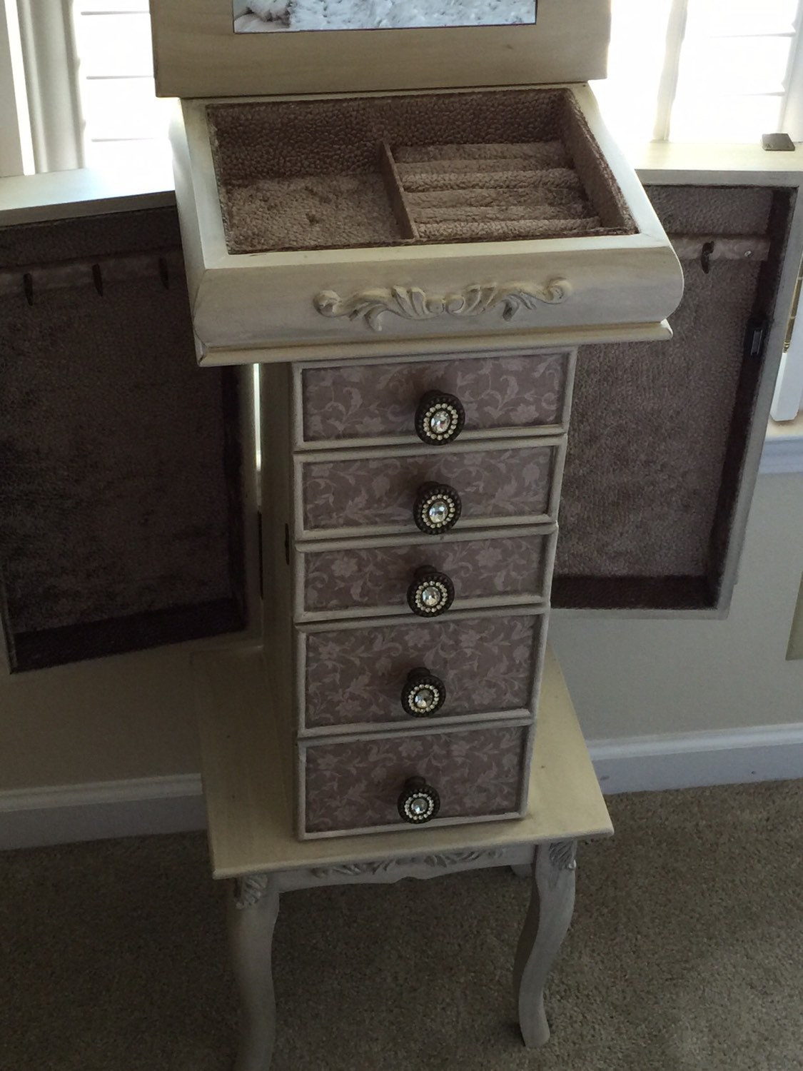 distressed floral taupe repurposed jewelry armoire custom. Black Bedroom Furniture Sets. Home Design Ideas