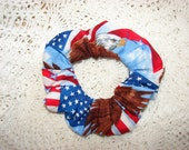 American flag patriotic fabric Hair Scrunchie, women's accessories, USA United States, red white blue, support our troops, womans scrunchies