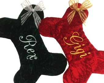 Red Velvet Dog Bone Christmas Stocking, Green Dog bone Christmas Stocking, Personalized Pet Christmas Stocking