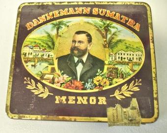 Vintage Danneman Sumatra Menor Cigars Tin West Germany  Brazilian Cigars 1950s