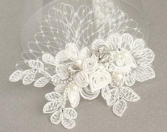 Wedding Hair Accessories- Petite Hair Comb- Bridal Hairpiece- Off White hairpiece- Birdcage Hairpiece- Bridal Hair Accessories- Brass Boheme