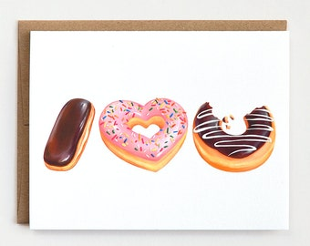 Donut Love Card, Anniversary Card, Valentines Day Card