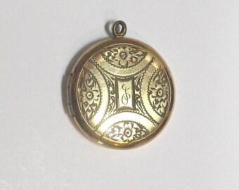 Vintage Laroco Gold Filled Etched Locket