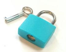 Teal Blue Square Mini Padlock Lock and Key Purse Collar Suitcase