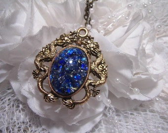 FIRE blue Dragon setting Mexican Dragon FIre Opal Victorian princess Fantasy glass art Mythical Necklace Altered Art