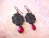 Pretty Pair of Gothic Look Dangling Earrings with Crimson Drops