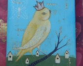yellow bird original  painting Lisa Arkus