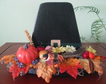 Pilgrim Hat, Thanksgiving, centerpiece, fall, holidays, fall decor,