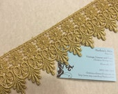 Metallic Gold Venise lace trim, 2 3/4 inch wide, 1 yard for wedding, bridal, holiday, jewelry, housewares couture by MarlenesAttic - Item 1W