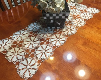 Vintage Ivory Hand crochet lace table runner dresser scarf for housewares, home decor, vases, flowers by MarlenesAttic