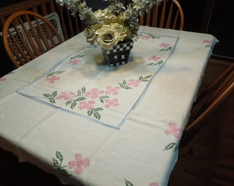 Vintage White Kitchen Dining Luncheon Tablecloth with floral cross stitch embroidery for kitchen, dining, housewares by MarlenesAttic