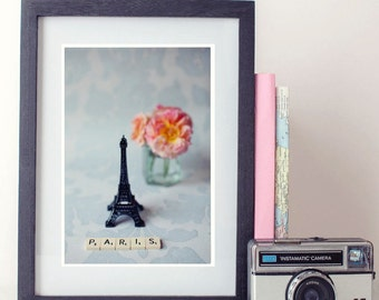 paris photography, photo print, stilllife photo - whimsical fine art photography, flower, rose, scrabble art, vintage, wall art, home decor